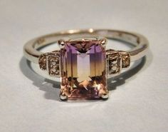 Vintage Ametrine Ring 2.90 Ct Sterling Silver 925 Amethyst Citrine Emerald Cut Ring Genuine Natural Gemstone Size 6 Six Estate Jewelry Ring