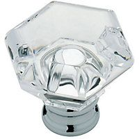 faceted door knob polished chromeclear