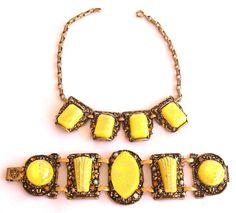 Selro Necklace Bracelet Set  Yellow by EmbellishgirlVintage, $265.00