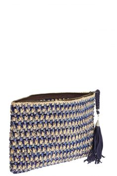 Seabreeze Blue Multi Raffia Clutch