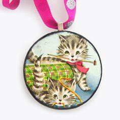 Handmade Vintage Cat Ornament - Knittin' Kittens - available at heykittykitty.com
