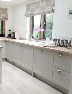 Modern country style shaker kitchen in Farrow & Ball Cornforth White. From Kitchen & Bedroom Store. Modern country style shaker kitchen in Farrow & Ball Cornforth White. From Kitchen & Bedroom Store. Grey Kitchen Cabinets, Kitchen Doors, Home Decor Kitchen, Kitchen Living, New Kitchen, Kitchen Ideas, Kitchen White, White Cabinets, Kitchen Country