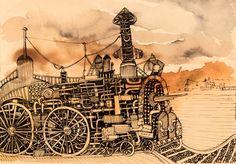 #steam #steampunk #train #vintage #ink #details