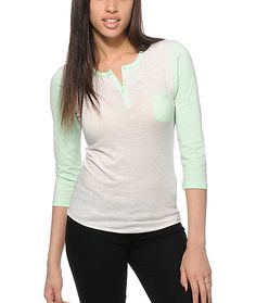 Brighten your looks with a comfortable white heathered body with mint 3/4 length sleeves and a 3 button henley collar.