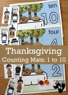 Hands-On Thanksgiving Counting Mats for Numbers 1 to 10 Thanksgiving Activities For Kids, Math Activities For Kids, Fall Preschool, Preschool Themes, Autumn Activities, Preschool Activities, Kindergarten Fun, Kids And Parenting, Counting