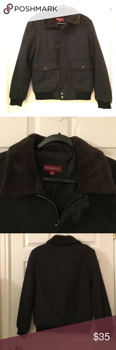 Men's wool coat Size small gray Merona men's wool coat with a brown collar. In brand new condition. Merona Jackets & Coats Performance Jackets