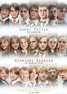 Harry Potter Hermione Granger and Ron Weasley through the years of Hogwarts Estilo Harry Potter, Mundo Harry Potter, Harry Potter Cast, Harry Potter Love, Harry Potter World, Harry Potter Memes, Harry Potter 3rd Movie, Harry Potter Characters Names, Harry Potter Uniform