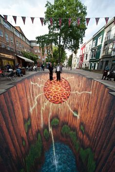Street painting Edgar Mueller Evolution - pavement street art www. 3d Street Art, Amazing Street Art, Street Art Graffiti, Street Artists, Amazing Art, Graffiti Artists, Amazing Photos, Awesome, Edgar Mueller