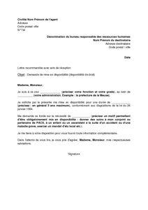 Lettre Demande De Disponibilite Fonction Publique Hospitaliere