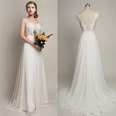 Simple Long A-Line V-back Lace Wedding Dresses, Chiffon Wedding Party Dresses, WD0013