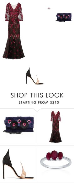 """""""Untitled #2966"""" by anamaria-zgimbau ❤ liked on Polyvore featuring Loeffler Randall, Notte by Marchesa, Francesco Russo and Belk & Co."""