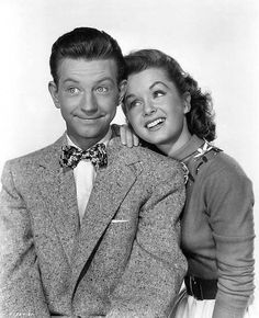 """""""""""Donald O'Connor and Debbie Reynolds ~ publicity photo for """"I Love Melvin"""", 1953 """" """" Hollywood Icons, Golden Age Of Hollywood, Hollywood Stars, Classic Hollywood, Old Hollywood, Old Movie Stars, Classic Movie Stars, Classic Movies, Donald O'connor"""