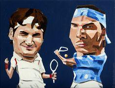 Love this Artist: Roger Federer & Rafael Nadal by Dave Choate.  New York, New York.  www.davechoate.com