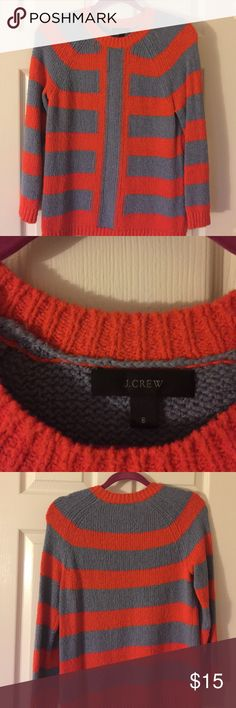 J. Crew knitted stripe sweater 3/4 sleeve knitted sweater with blue/orange stripe. Great condition. J. Crew Sweaters Crew & Scoop Necks