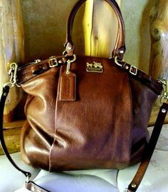 Auth Coach Lindsey Satchel Acorn Brown # 18641 Mint Condition Purse Bag tote