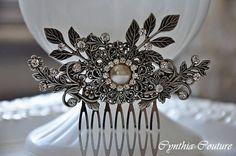 Wedding Hair Comb,Bridal HeadPiece,Wedding Head Piece,Deco Hair Comb,Vibntage Style Hair Comb,Flower and Leaf,Antique Silver,CHANTILLY