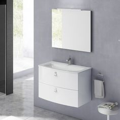 "Orren Ellis Durham Contemporary 32"" Single Bathroom Vanity Set with Mirror Base Finish: Gloss White"
