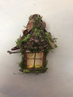 Fairy Window with Gabled Pinecone Accent Dormer / Delicate Twinkling Light ~ Handcrafted by Olive Fairy Accessories, Fairy House, Fairy Door