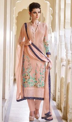 Refine beauty with this rose pink color embroidered georgette pant style suit. The lace and resham work seems to be chic and excellent for any function. #pakistanidesigndress #pakistanisuit #latestdresscollection