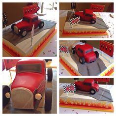 40th birthday cake - 'Hotrod Race Day'. Huge chocolate madeira w/chocolate buttercream & milk chocolate ganache.  Hotrod made from Rice Krispie treat. Airbrushed flame work & car colour. All edible. Find me on facebook.com/FeendishDelights