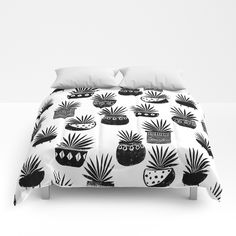 houseplant linocut aloe vera art botanical black and white lino printmaking art minimal modern Comforters