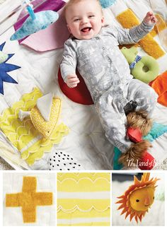 A growing baby needs plenty of exercise and time to explore. That's why The Land of Nod's Baby Play Mats are welcome essentials for the nursery or playroom. All of our styles are made with the coziest materials and are exclusively designed by artists. The Be On the Sea Activity Floor Mat features a bevy of marine life while the Shape Up Baby Activity Mat is topped with vibrant colors and patterns. We have a feeling your little ones won't want tummy time to end.