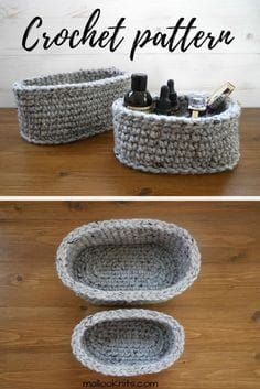 How to make your own oval baskets – free pattern Are you an organisation freak? If yes, you will love these oval crochet baskets. Make your own set with this extremely simple crochet pattern for oval baskets. Crochet Bowl, Knit Or Crochet, Crochet Stitches, Crochet Hooks, Free Crochet, Crotchet, Crochet Vests, Doilies Crochet, Crochet Pouch
