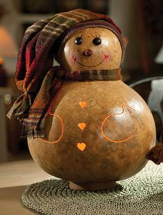"""Meet Lana a Natural Colored Gourd, Rosy Cheeks with Scarf & Cap Lighted - Approx 8""""Wide"""