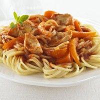 Spaghettini au poulet, à l'oignon et au poivron sur Wikibouffe