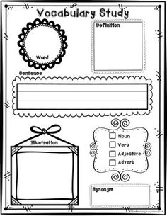 Vocabulary Study: this simple one page vocabulary study is a great addition to any literature math social studies or science unit. It includes a space for the word definition sentence part of speech synonym and an illustration. Vocabulary Strategies, Vocabulary Instruction, Academic Vocabulary, Teaching Vocabulary, Vocabulary Worksheets, Vocabulary Words, Vocabulary Games, Vocabulary Journal, 2nd Grade Ela