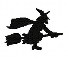 Halloween flying witch silhouette machine embroidery design 3 inch instant download by BelsEmbroidery
