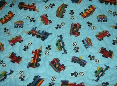 backside view of TRAINS quilt