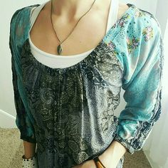 Boho Tunic Very lightweight tunic! Beautiful coloring with stud detailing down the sleeves. Boutique  Tops Tunics