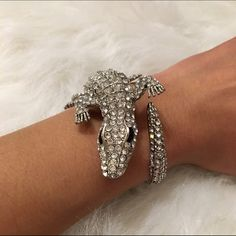 Diamond Crystal Crocodile Cuff Bracelet Statement cuff perfect for work or play. Worn once, no missing stones or wear. Unknown Jewelry Bracelets