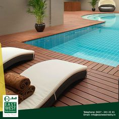 Had a long day at work? Loosen up by our wooden deck floored swimming pool at #BalramEnclave #LuxuryPool.  http://www.eastwestrealty.in/balram-enclave.php Contact us at 91 9444446643; for any queries, mail us at info@eastwestrealty.in