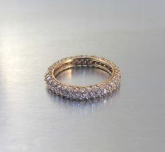 fe780e0da Vintage Sterling Diamond Wedding Band Ring, Rose Gold Vermeil Pave Cubic  Zirconia CZ Wedding Band, Stacking Rings, Anniversary Ring Size 7