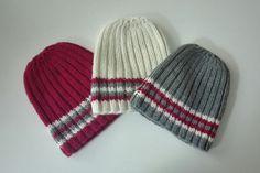 Bonnets tricotés à rayures en laine et alpaga