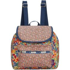 LeSportsac Liberty Small Edie Backpack ($69) ❤ liked on Polyvore featuring bags, backpacks, liberty combo, light weight backpack, blue bag, floral rucksack, floral print bag and lesportsac bag