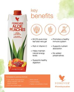 Forever Aloe Berry Nectar A burst of cranberries and sweet apples! Enjoy pure aloe vera gel combined with the fruity taste of cranberry and apple. Forever Aloe Berry Nectar consists of aloe vera gel, is rich in vitamin C and contains no preservatives. Forever Aloe Berry Nectar, Aloe Drink, Peach Drinks, Forever Living Aloe Vera, Forever Living Business, Chocolate Slim, Forever Living Products, Natural Energy, Aloe Vera Gel