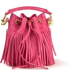 Saint Laurent Pink Suede Small Emmanuelle Fringed Bucket Bag ($1,535) ❤ liked on Polyvore featuring bags, handbags, shoulder bags, purses, bolsas, torbe, studded purse, shoulder strap bag, bucket bag and suede shoulder bag