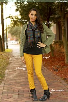 Mustard yellow jeans and plaid scarf! More at http://www.natinlove.com/2012/12/savannah-look-four.html?pin=1 featuring @Gap @Old Navy @STEVE MADDEN @Target