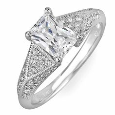 EGL Certified Diamond Engagement Ring 1.14 Carat 18k White Gold VS1-VS2  #DiamondsByElizabeth #SolitairewithAccents