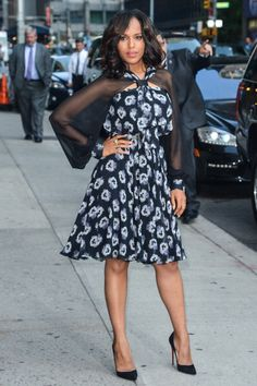 Kerry Washington promoting 'Scandal' in NYC. Makeup by Brigitte Reiss-Andersen. Styling by Erin Walsh.