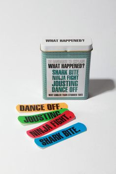 """What happened?"" Band-Aids.  I want!"