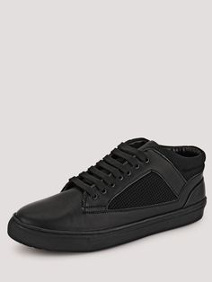 Buy Marcello & Ferri Black Sneakers With Mesh Detailing On Side Panels for Men Online in India Black Casual Shoes, All Black Sneakers, Online Shopping Shoes, Shoes Online, Side Panels, Men Online, Mesh, India, Detail
