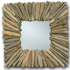 Square Driftwood Mirror