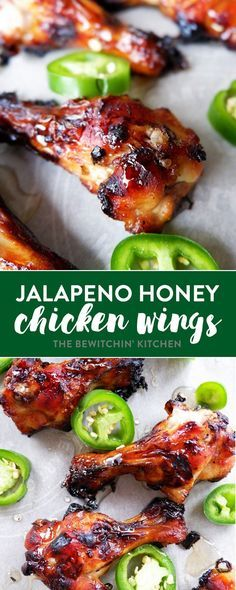 These oven baked chicken wings are both sweet and … Jalapeno Honey Chicken Wings. These oven baked chicken wings are both sweet and spicy. They resemble teriyaki wings with a twist. Honey Chicken Wings, Chicken Wing Sauces, Cooking Chicken Wings, Sweet And Spicy Chicken, Chicken Wing Recipes, Spicy Baked Chicken, Recipe Chicken, Teriyaki Wings, Spicy Wings