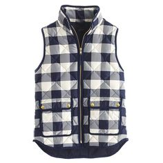 jcrew excursion quilted vest in buffalo check