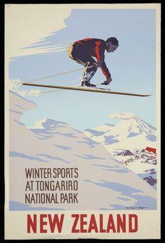 King, Marcus, 1891-1983 :Winter sports at Tongariro National Park New Zealand. [1930s].