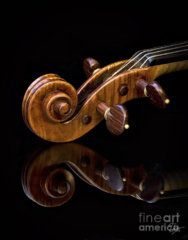 Violin Photograph - Reflected Scroll by Endre Balogh